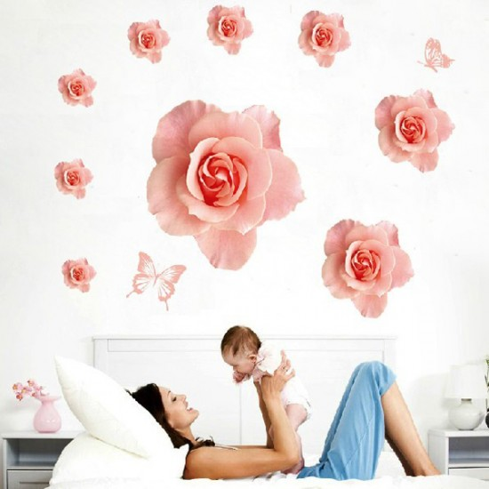 Pink Flowers Wall Decals